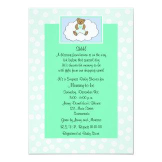 Surprise Baby Shower Invitation - Teddy on Green