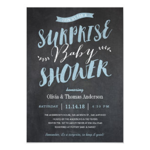 Nice Surprise Baby Shower Invitations   Chalkboard Blue