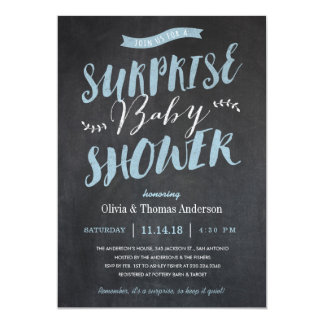 Surprise Baby Shower Invitations   Chalkboard Blue