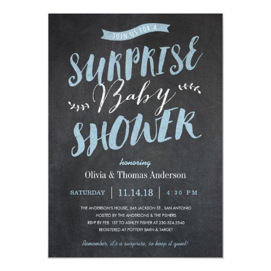 Surprise Baby Shower Invitations Chalkboard Blue Zazzle