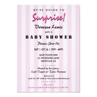 Surprise Baby Shower Pink Stripes Invitation