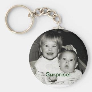 Surprise! Basic Round Button Keychain