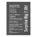 SURPRISE Big 7 Oh Birthday Gray Star Pattern 5x7 Paper Invitation Card