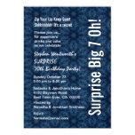 "SURPRISE Big Oh Birthday Blue Flowers Metallic 5"" X 7"" Invitation Card"