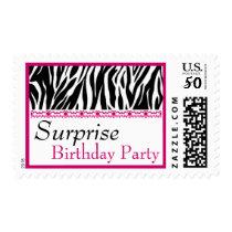 SURPRISE BIRTHDAY Black White Pink Zebra Postage