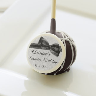 Surprise Birthday Damask and Faux Bow Cake Pops
