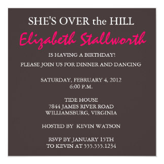 Surprise Birthday FORTY - Over the Hill Card