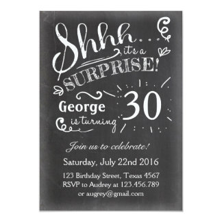 Surprise birthday invitation 30 Chalkboard Rustic