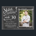 """Surprise birthday invitation 30 Chalkboard Rustic<br><div class=""""desc"""">♥ A perfect way to invite your guests to this special birthday party! Chalkboard design. You can put your own picture!</div>"""