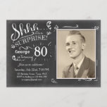 """Surprise birthday invitation 80 Chalkboard Rustic<br><div class=""""desc"""">♥ A perfect way to invite your guests to this special birthday party! Chalkboard design. You can put your own picture!</div>"""