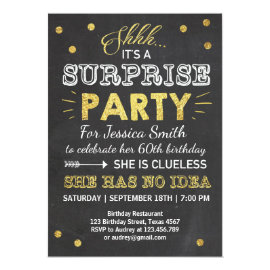 Surprise birthday invitation Chalkboard Gold