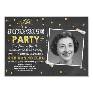 Surprise birthday invitation Chalkboard Gold