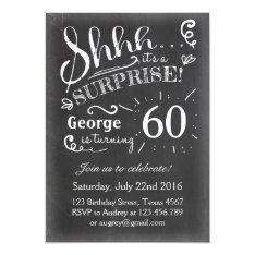 Surprise Birthday Invitation Chalkboard Rustic at Zazzle
