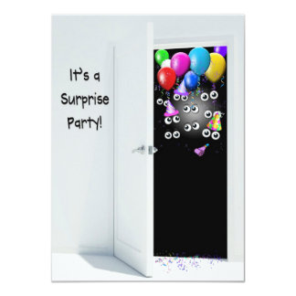"Surprise  Birthday Party behind door 4.5"" X 6.25"" Invitation Card"