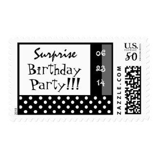 Surprise Birthday Party Black White Polka Dot Postage
