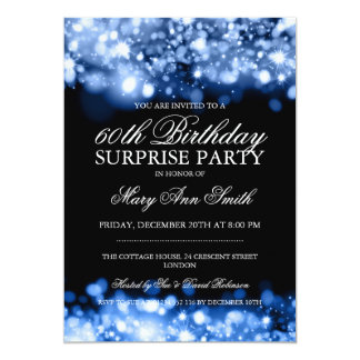 Surprise Birthday Party Blue Sparkling Lights Card