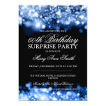Surprise Birthday Party Blue Sparkling Lights 5x7 Paper Invitation Card