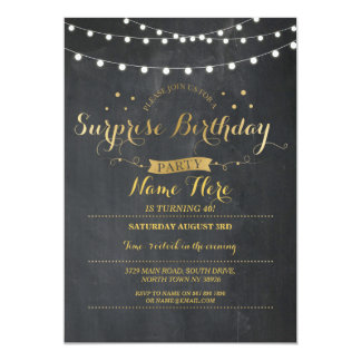 Surprise Birthday Party Chalkboard Any Age Invite