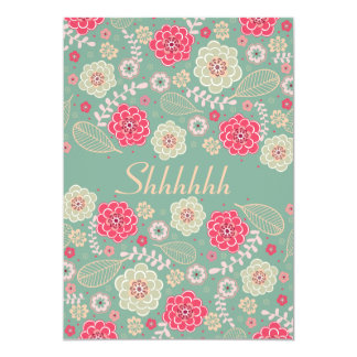 Surprise Birthday Party Chic Funky Modern Floral 5x7 Paper Invitation Card