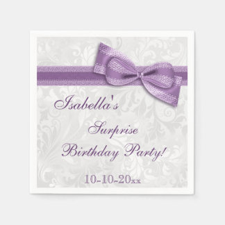 SURPRISE Birthday Party Damask and Bow Napkin