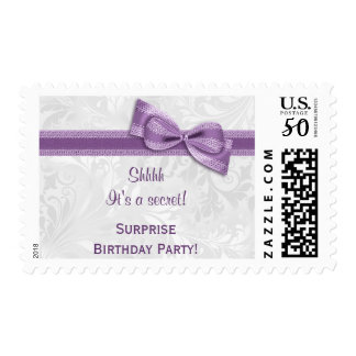 SURPRISE Birthday Party Damask and Bow Postage