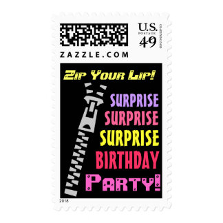 SURPRISE Birthday Party Funny Zip Your Lip Postage