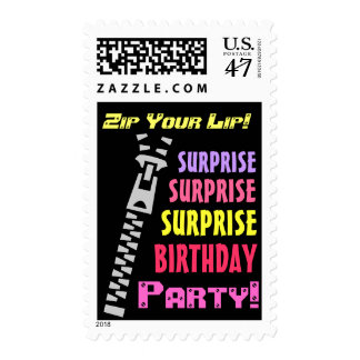 SURPRISE Birthday Party Funny Zip Your Lip! Stamp
