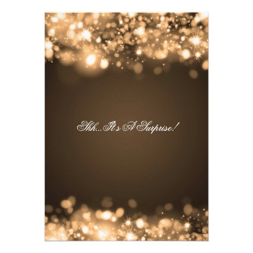 Surprise Birthday Party Gold Sparkling Lights Personalized Invite (back side)