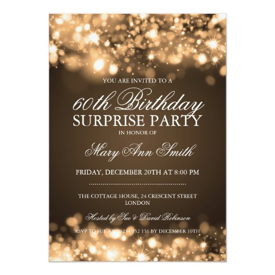Surprise Birthday Party Gold Sparkling Lights Invitation