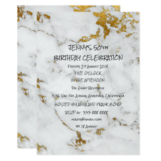 Surprise Birthday Party Golden Brushes Marble Glam Card