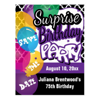 Surprise Birthday Party in Purple | Save the Date Postcard