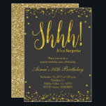 "Surprise Birthday Party Invitation Black Gold<br><div class=""desc"">Faux gold confetti splatters blush pink party invitation with sparkle design for surprise birthday party. Perfect for modern birthday.</div>"
