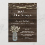 """Surprise Birthday Party Invitation  - Rustic Wood<br><div class=""""desc"""">Hand painted watercolor baby's breath and mason jar complemented by beautiful calligraphy.  Coordinating RSVP,  Details,  Registry,  Thank You cards and other items are available in the 'Watercolor Baby's Breath in Mason Jar' Collection within my store.</div>"""