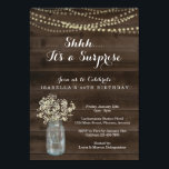 "Surprise Birthday Party Invitation  - Rustic Wood<br><div class=""desc"">Hand painted watercolor baby's breath and mason jar complemented by beautiful calligraphy.