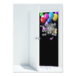 Surprise Birthday Party Invitation with balloons.