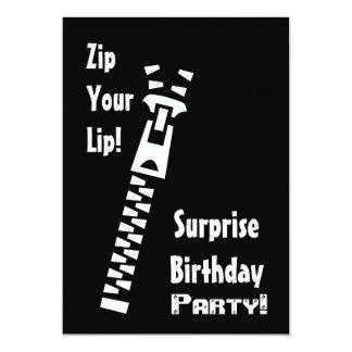 SURPRISE Birthday Party Invitation Zip Your Lip