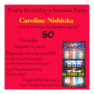 Surprise Birthday Party Lucky Red Slot Machine 5.25x5.25 Square Paper Invitation Card
