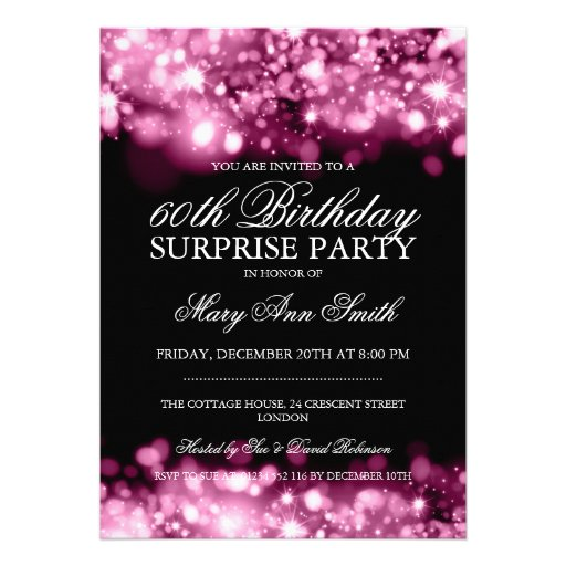 Surprise Birthday Party Pink Sparkling Lights Personalized Announcement
