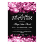 "Surprise Birthday Party Pink Sparkling Lights 5"" X 7"" Invitation Card"