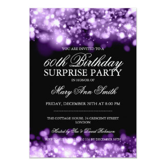 Surprise Birthday Party Purple Sparkling Lights 5x7 Paper Invitation Card