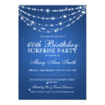 Surprise Birthday Party Sparkling Chain Blue 5x7 Paper Invitation Card