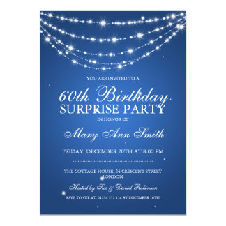 Surprise Birthday Party Sparkling Chain Blue Card