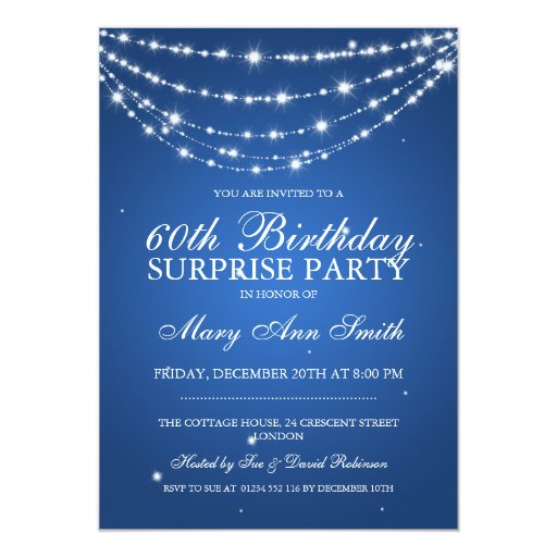 Surprise Birthday Party Sparkling Chain Blue Custom Announcements