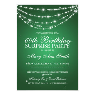 Surprise Birthday Party Sparkling Chain Green Card