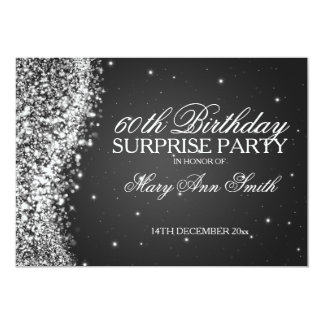 Surprise Birthday Party Sparkling Wave Black 5x7 Paper Invitation Card