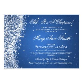 Surprise Birthday Party Sparkling Wave Blue Custom Invitations