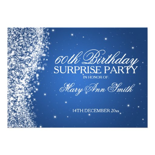 Surprise Birthday Party Sparkling Wave Blue Custom Invitations