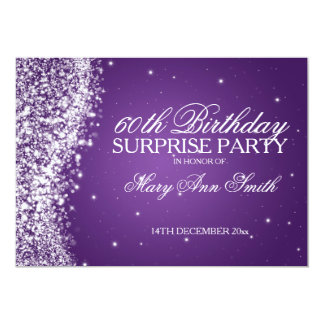 Surprise Birthday Party Sparkling Wave Purple Personalized Announcements