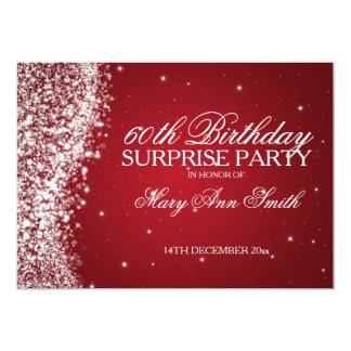 Surprise Birthday Party Sparkling Wave Red Personalized Invites