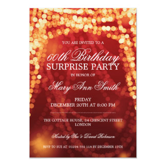 Surprise Birthday Party String Lights Gold Card